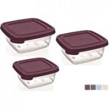 Набор контейнеров для пищевых продуктов пластиковые Bager Cooc&Keep mix 3 шт 200, 500, 900 мл квадратные (36) №33296/BG-623