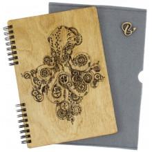 Блокнот A5 деревянная обложка Осьминог Breidon