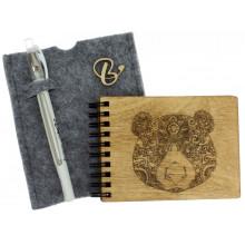 Блокнот A6 деревянная обложка Bear