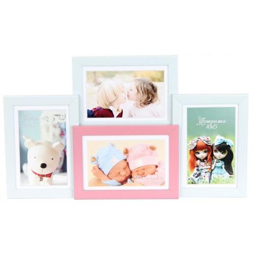 Фотоколлаж 10 х15 4 в1 белый,розовый №4-0023