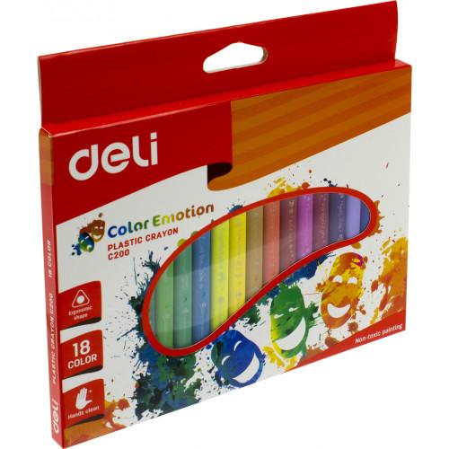 Олівці кольорові 18 кольорів Deli Color Emotion пластикові EC20010