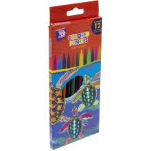 Карандаши цветные 12 цветов Cool For School пластиковые, трехгранные  №CF15182