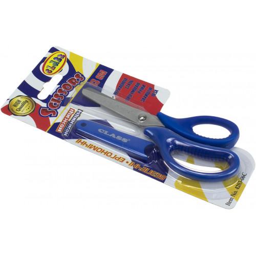Ножиці дитячі Class 13,3 см, сині, прогумовані ручки, з чохлом (30) №4283-06С