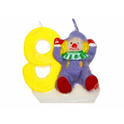 """Свічка в торт цифра """"9"""" Клоуни 12 шт. HS133 (600)"""
