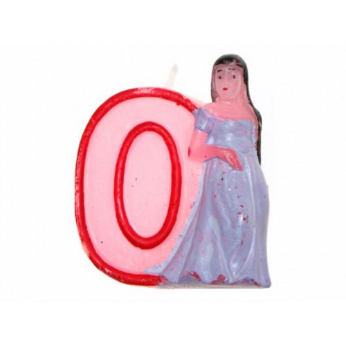 """Свічка в торт цифра """"0"""" Принцеси 12 шт. HS139 (480)"""