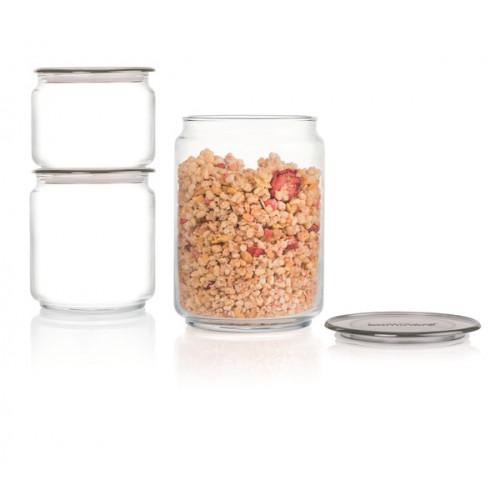 """Набір банок для сип. продуктів скло """"Luminarc. Plano Grey"""" (3шт) 0,5х0,75х1л№N3454/2958(5)"""