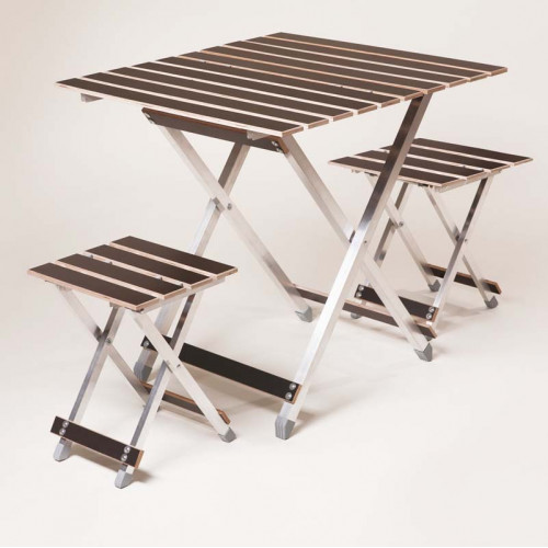Комплект ALUWOOD большой Стол большой + 2 стула