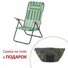 Крісло-шезлонг Ясень d20 мм (текстиль біло-зелений)